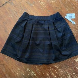 Black skater skirt | navy blue stripes | pleated